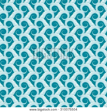 Beautiful Hand Drawn Stylised Ocean Waves In Textured Geometric Design. Seamless Vector Pattern On O