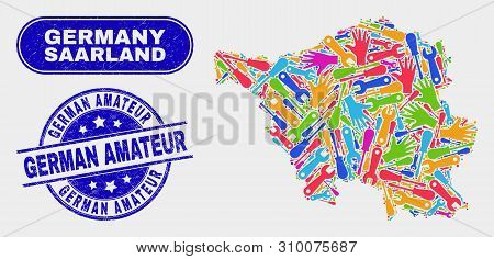 Element Saarland Land Map And Blue German Amateur Textured Seal Stamp. Bright Vector Saarland Land M