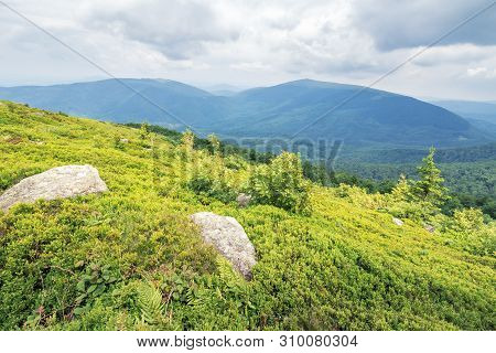 Rocks On The Grassy Slope Of Mountain Runa. Cloudy Overcast Sky. Calm Summer Landscape. Ridge In The