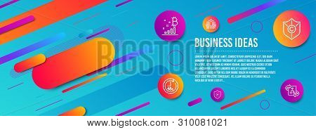 Header Banner. 24 Hours, Copyright Protection And Bitcoin Graph Icons Simple Set. 48 Hours, Group An