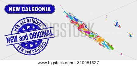 Service New Caledonia Islands Map And Blue New And Original Scratched Seal Stamp. Colorful Vector Ne