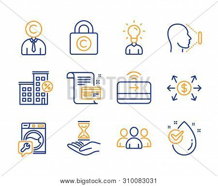 Copyright Locker, Washing Machine And Face Id Icons Simple Set. Dollar Exchange, Payment Card And Ed