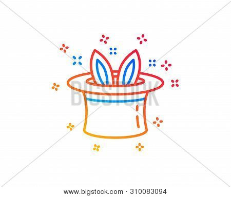 Hat-trick Line Icon. Magic Tricks With Hat And Rabbit Sign. Illusionist Show Symbol. Gradient Design