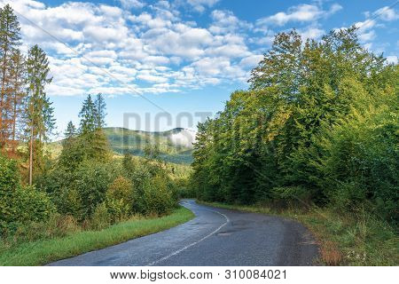 Old Country Road Through Forest In To Mountains. Beautiful Transportation Background In Early Mornin