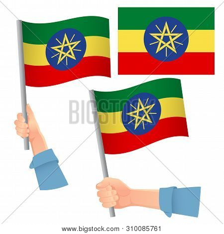 Ethiopia Flag In Hand. Patriotic Background. National Flag Of Ethiopia Vector Illustration