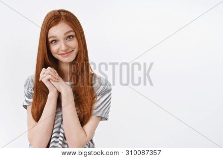 Cute Charismatic Tender Young Redhead Girl Blue Eyes Touched Nice Heartwarming Gesture Clasp Hands G