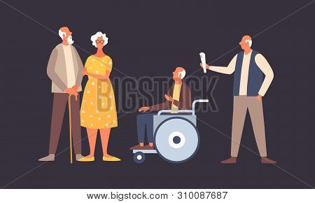 The Concept Of Active Life In Old Age. People In Old Age In Different Situations. Old Man In A Wheel