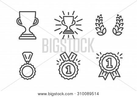 Award Cup, Approved And Medal Icons Simple Set. Laurel Wreath, Trophy And Reward Signs. Trophy, Winn
