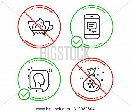 Do Or Stop. Head, Message And Espresso Cream Icons Simple Set. Santa Sack Sign. Profile Messages, Ph