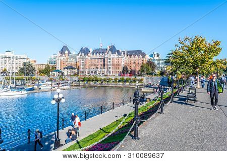 Victoria, Canada - October 02 2017: The Empress (aka Fairmont Empress), A Famous Landmark And One Of