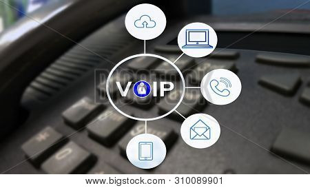Voip And Telecommunication Concept,ip Phone Connecting To Other Voip Device