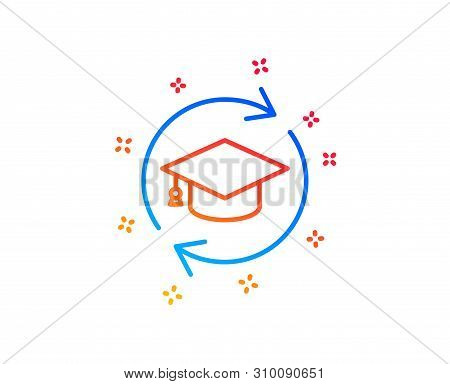 Continuing Education Line Icon. Online Education Sign. Gradient Design Elements. Linear Continuing E