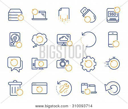 Recovery Line Icons. Backup, Restore Data And Recover Document. Laptop Renew, Repair And Phone Recov
