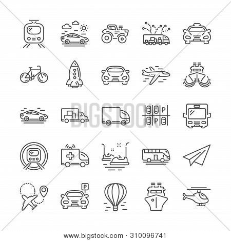 Transport Line Icons. Helicopter, Taxi And Subway Train Icons. Truck Car, Tram And Air Balloon Trans