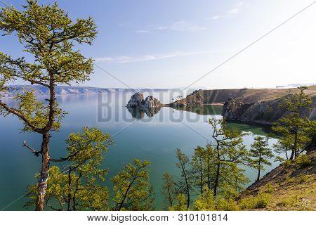 Cape Burhan On Lake Baikal Near The Village Of Khuzhir.