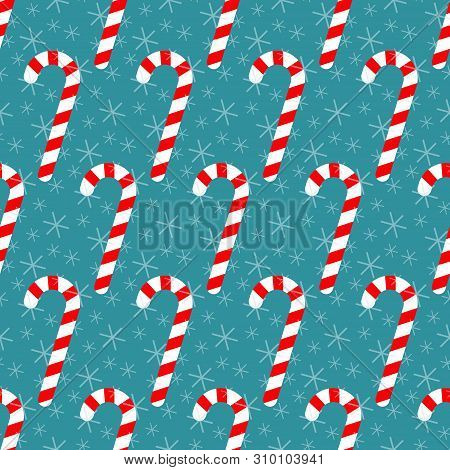 Seamless Pattern With Candy Canes And Snowflakes, Christmas Vector Illustration