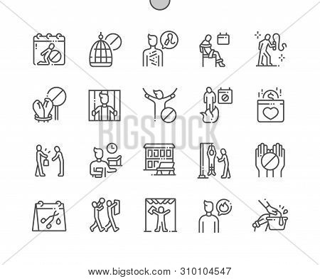 International Day in Support of Victims of Torture Well-crafted Pixel Perfect Vector Thin Line Icons 30 2x Grid for Web Graphics and Apps. Simple Minimal Pictogram poster