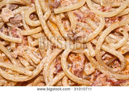 Pasta- Spaghetti With Cream And Bacon.