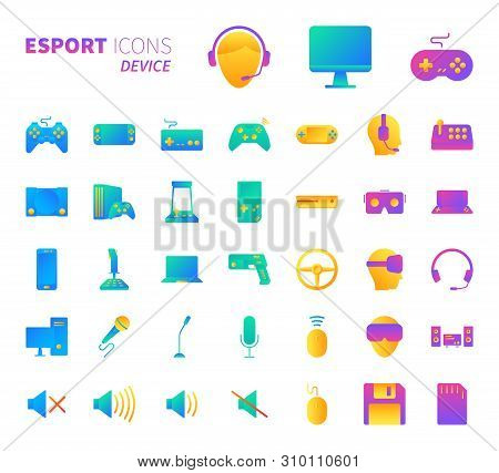 Brilliant colorful gradient icon set of video game and esport device concept. poster