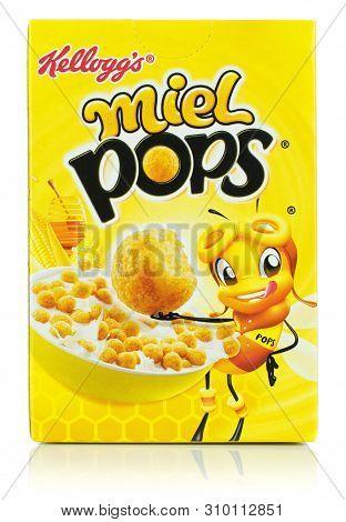 Niedersachsen, Germany July 6, 2019: A Single Serving Mini Box Of Kelloggs Meil Honey Pops Breakfast