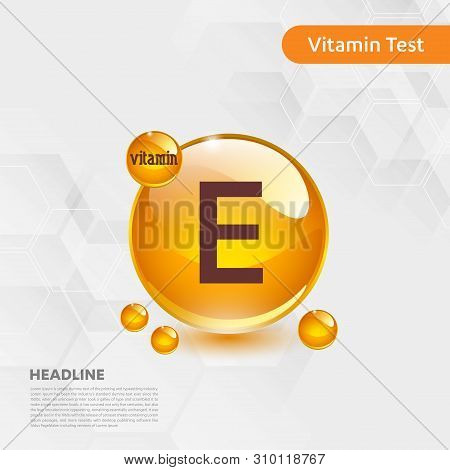 Vitamin E Gold Shining Icon, Cholecalciferol. Golden Vitamin Complex With Chemical Formula Substance