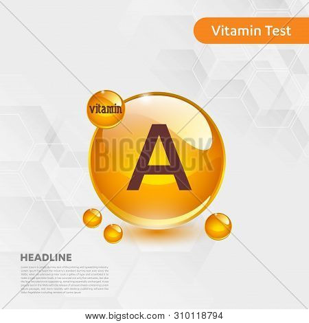 Vitamin A Gold Shining Icon, Cholecalciferol. Golden Vitamin Complex With Chemical Formula Substance