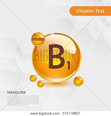 Vitamin B1 Gold Shining Icon, Cholecalciferol. Golden Vitamin Complex With Chemical Formula Substanc