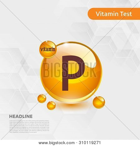 Vitamin P Gold Shining Icon, Cholecalciferol. Golden Vitamin Complex With Chemical Formula Substance