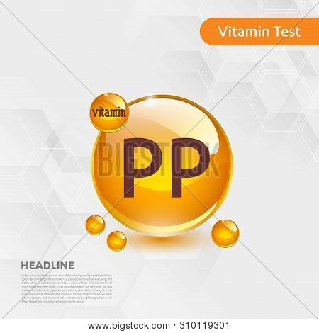 Vitamin Pp Gold Shining Icon, Cholecalciferol. Golden Vitamin Complex With Chemical Formula Substanc
