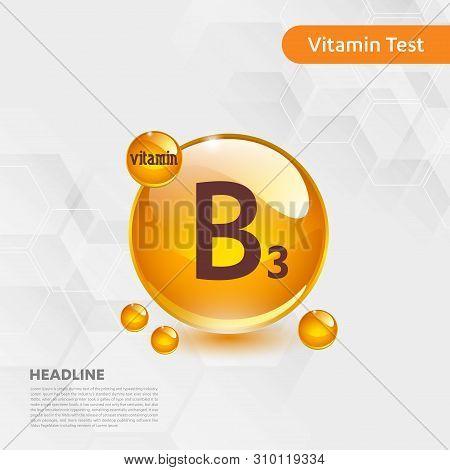 Vitamin B3 Gold Shining Icon, Cholecalciferol. Golden Vitamin Complex With Chemical Formula Substanc