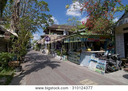Ubud, Bali, Indonesia - 17th May 2019 : View On The Famous Jalan Goutama Road, One Of The Most Famou