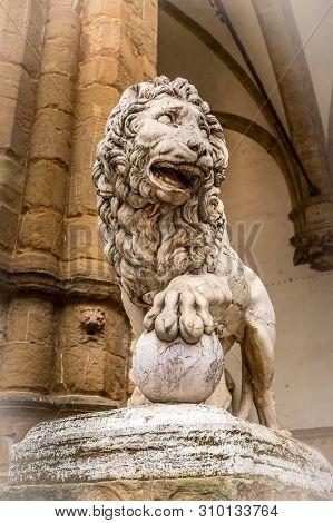 Florence, Italy lion statue at the Loggia dei Lanzi in Palazzo Vecchio. Lion Medici, Firenze landmarks poster