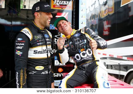 June 29, 2019 - Joliet, Illinois , USA: Aric Almirola (10) and Clint Bowyer (14) chat before practicing for the Camping World 400 at Chicagoland Speedway in Joliet, Illinois .