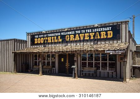 Tombstone, Arizona, Usa - May 1, 2019: Entrance To The Famous Boothill Graveyard In Tombstone Arizon