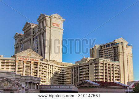 Las Vegas, Nevada, Usa - May 6, 2019: Exterior Of Caesars Palace On Las Vegas Boulevard. The Las Veg