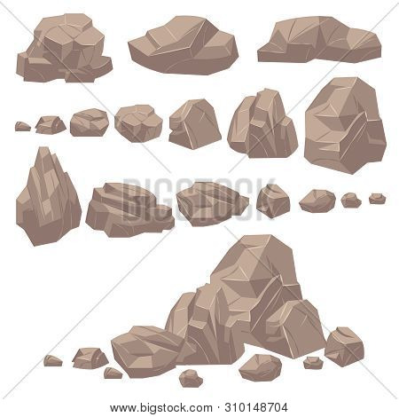 Rock Stone. Isometric Rocks And Stones, Geological Granite Massive Boulders. Cobbles For Mountain Ga