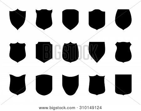 Shield Blank Emblems. Heraldic Shields, Security Black Labels. Knight Award, Medieval Royal Vintage