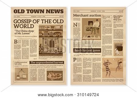 Retro Newspaper. Daily News Articles Yellow Newsprint Old Magazine. Media Newspaper Pages. Vintage P