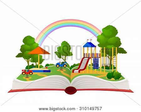 Open Book Playground. Fantasy Garden, Learning Amusement Park Green Forest Library, Child Books Dayd
