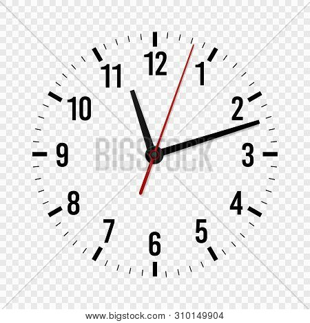 Clock Face Mockup. Hour, Minute And Second Hands With A Time Scale For Modern Wall Office Watches. 3