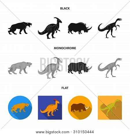 Vector Illustration Of Animal And Character Logo. Set Of Animal And Ancient Stock Symbol For Web.