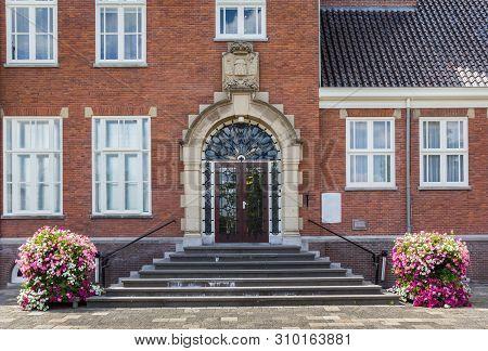 Steps And Front Door Of The Town Hall Of Hoogeveen, Netherlands