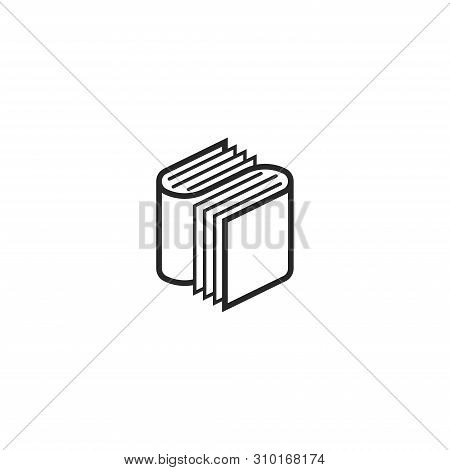 Two Books Logo Letter S Isometric Shape, A Symbol For An Educational Program Or A Bookshop