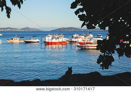 Bostanci Seaside In Asian Side Of Istanbul And The Marmara Sea In Sunny Summer Day.