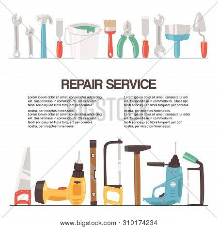 Repair Service Tools Banner Vector Illustration. Home Repair. Construction Equipment. Hand Supplies