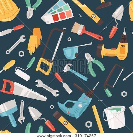 Repair Tools Service Seamless Pattern Vector Illustration. Home Repair. Construction Equipment. Hand