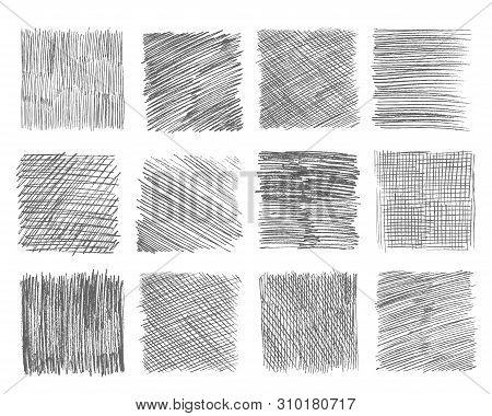 Sketch Hatching. Pen Doodle Freehand Line Strokes Chalk Scribble Black Line Sketch Grunge Handmade V