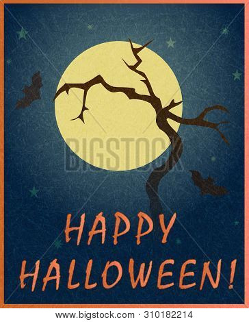 Dry Tree And Bats On Background Of Full Moon. Stylish Colorful Illustration Of Happy Halloween. Temp
