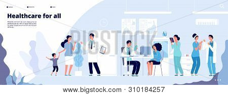 Medical Landing Page. Online Clinical Consult With Diverse Doctors. Healthcare Vector Concept. Medic