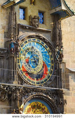 Prague Astronomical Clock, Bohemia, Czech Republic. Mounted On The Southern Wall Of Old Town Hall In